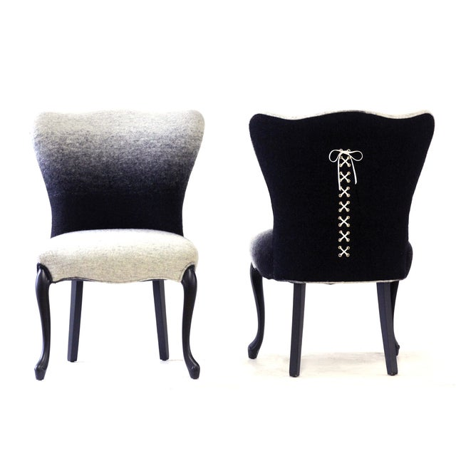 Image of Upholstered Black Ombre Slipper Chairs, Pair