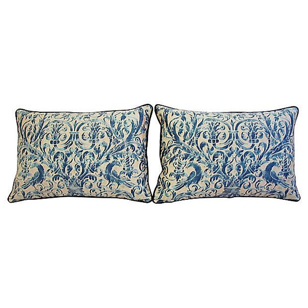 Custom Designer Italian Fortuny Uccelli Feather/Down Pillows - Pair - Image 10 of 10