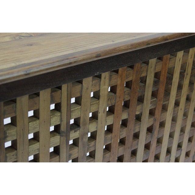 Burma Teak Lattice Console Table - Image 3 of 3
