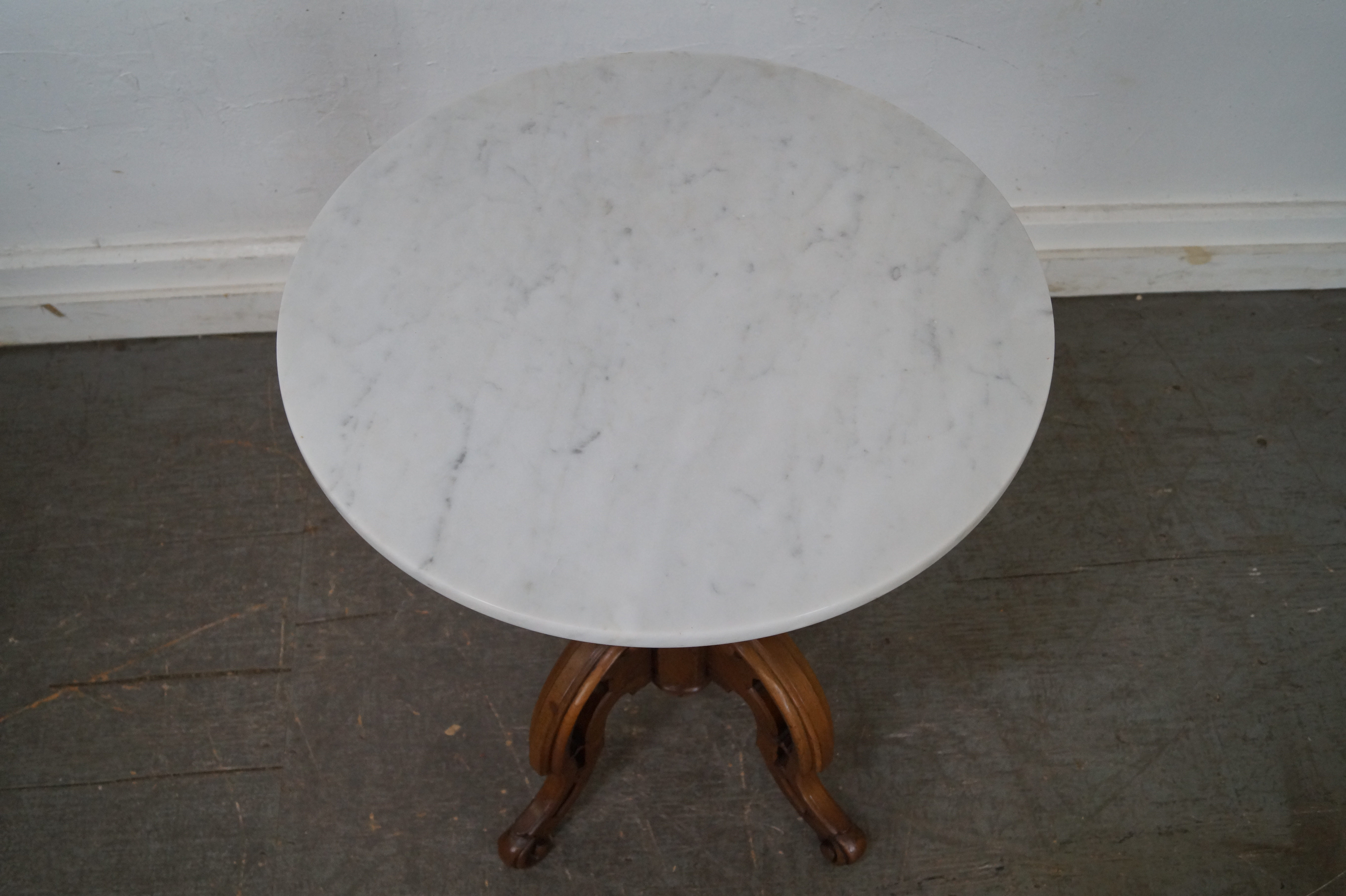Antique Thomas Brooks Victorian Round Marble Top Table   Image 7 Of 10
