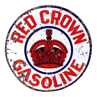 Red Crown Gasoline Porcelain Sign