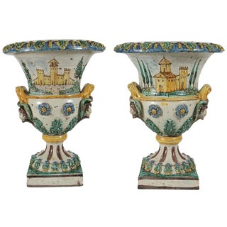 19th Century, Painted, Italian, Terracotta Urns
