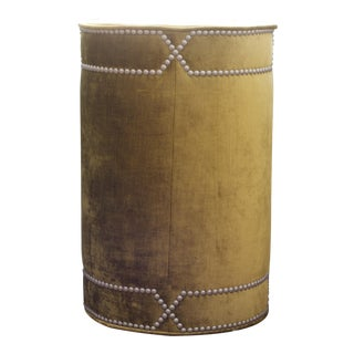 Green Drum Side Table With Nailhead Detail