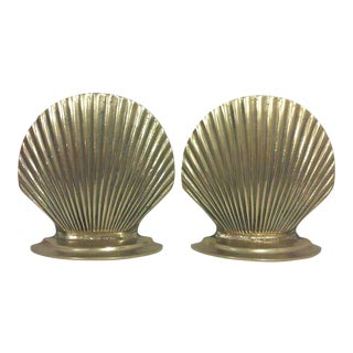 Brass Shell Bookends - A Pair