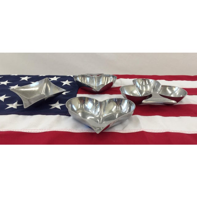 Silver Metal Bridge Card Game Bowls - Set of 4 - Image 3 of 8