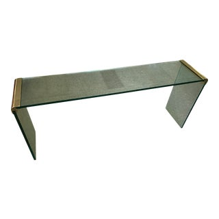 Leon Rosen Glass and Brass Console Table for Pace