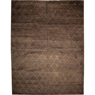 """Rabat, Hand Knotted Moroccan Brown Wool Area Rug - 10' 7"""" X 14' 2"""""""