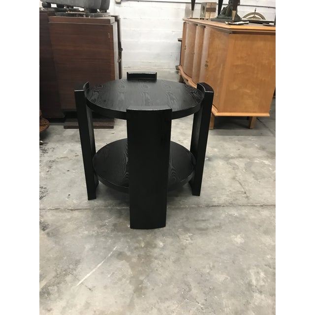 Monumental French Art Deco Solid Ebonized Cerused Oak Coffee Table Circa 1940s. - Image 3 of 11
