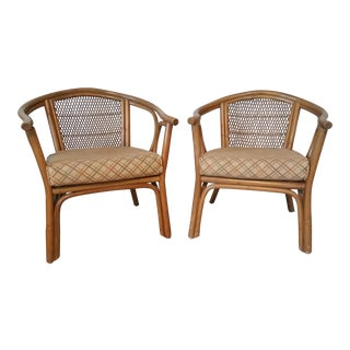 Vintage O Asia Style Rattan Accent Chairs - a Pair