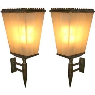 Pair of Rare Lantern Shaped Wall Sconces by Fontana Arte, Italy circa 1935