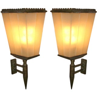 Pair of Rare Lantern Shaped Wall Sconces by Fontana Arte, Italy circa 1935