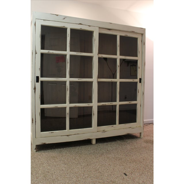 Country french painted white sliding door pantry chairish for White sliding french doors