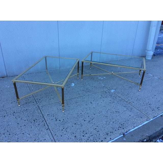 Image of 1950s French Solid Brass Modern Coffee Tables Pair