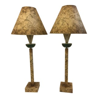 Faux Stone Pillar Lamps - a Pair by Fine Art Lamp Co.