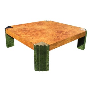 Leon Rosen for Pace Burl Wood and Chrome Coffee Table
