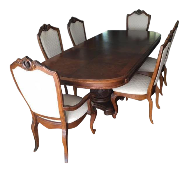American Drew Co Double Pedestal Table U0026 Chairs Dining Set   Set ...
