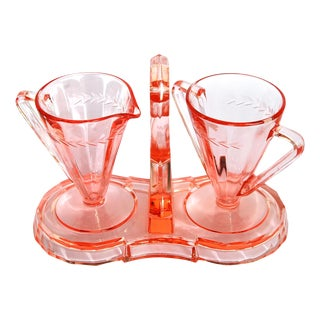 Depression Era Pink Glass Cream and Sugar Set