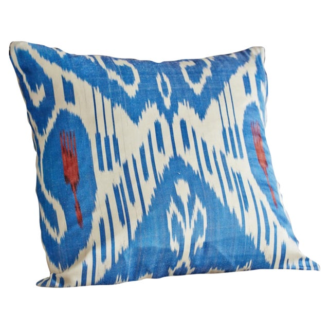 Blue Ikat Pillow Covers - A Pair - Image 1 of 4