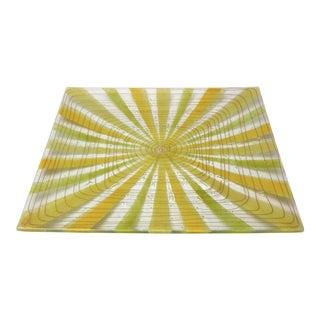 Vintage Higgins Starburst Pattern Square Glass Platter or Plate- 1960s Mid Century Modern Millennial