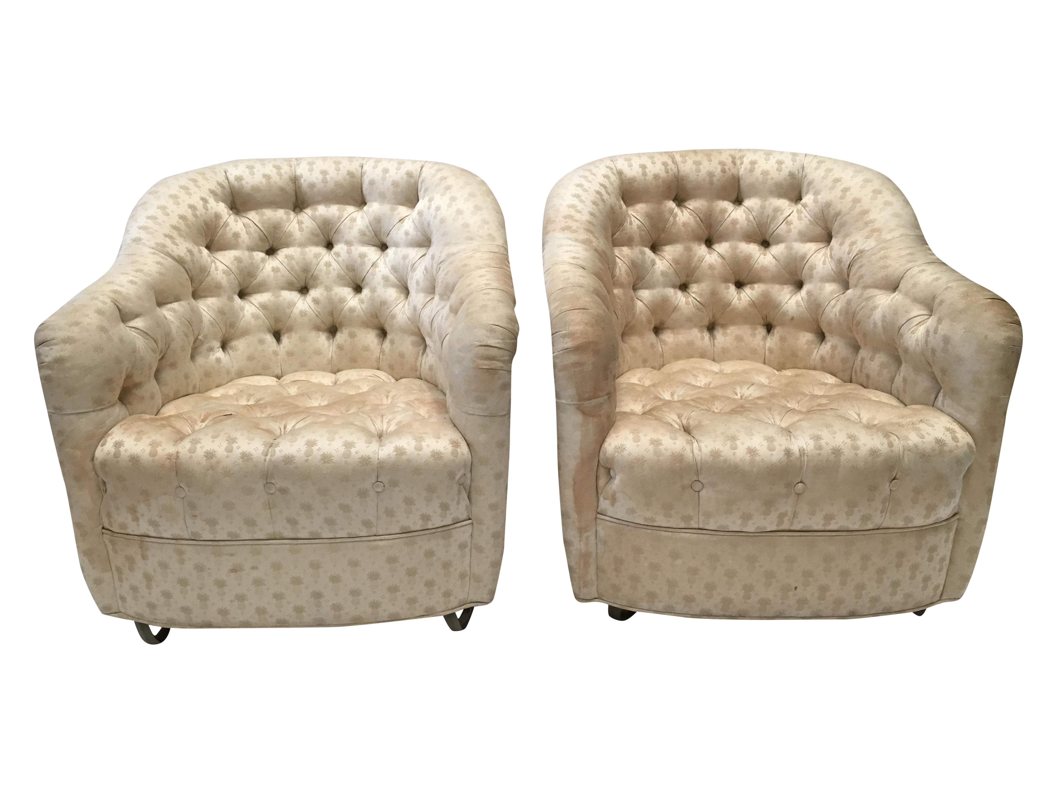 image of tufted pineapple swivel club chairs a pair