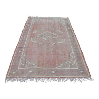 "Pink Oushak Turkish Wool Pompom Rug - 64"" x 100"""