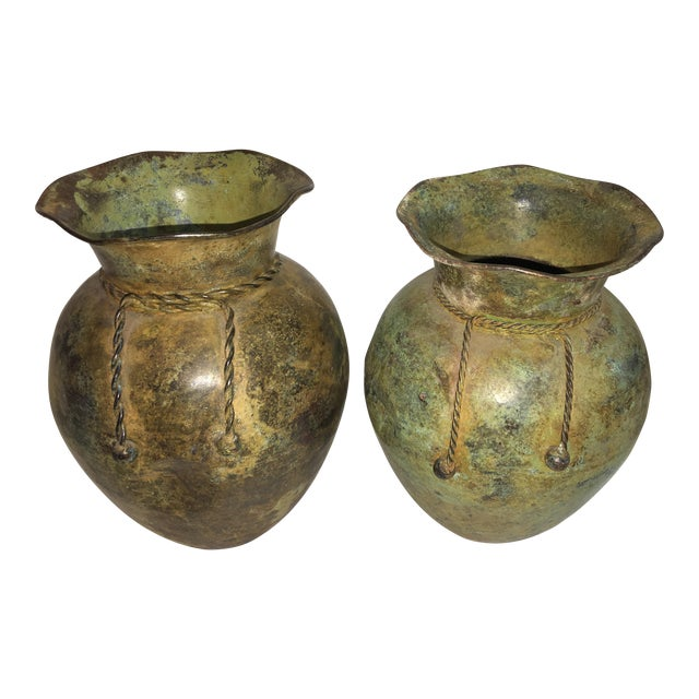 Antiqued Copper Finish Vases - A Pair - Image 1 of 7