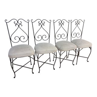 Antique Wrought Iron Chairs - Set of 4
