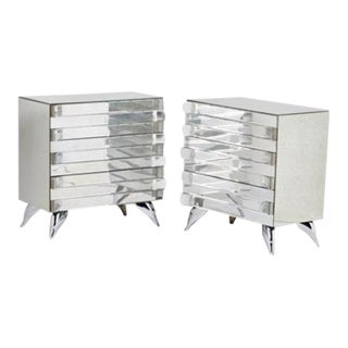 Hollywood Regency Style Mirrored Chests - A Pair