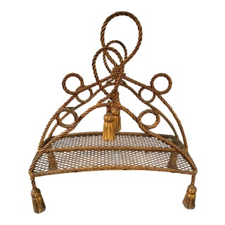 Gilt Italian Rope Magazine Rack