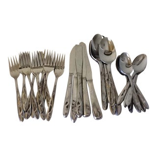 Mid-Century Starburst Stainless Flatware Set - 42 Pieces