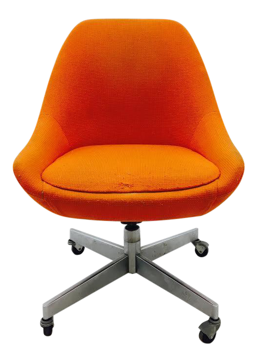 Vintage Knoll Swivel Scoop Chair On Chrome Rolling Frame