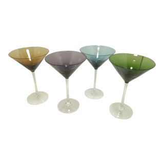 Assorted Jewel Tone Polka Dot Martini Glasses - Set of 4