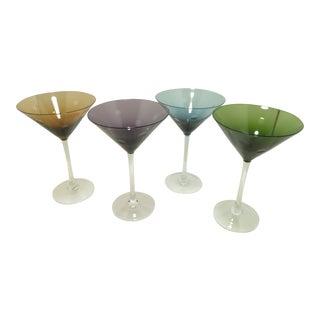 Jewel Tone Polka Dot Martini Glasses - Set of 4 -
