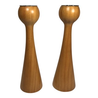 Danish Modern Wooden Candlesticks - A Pair