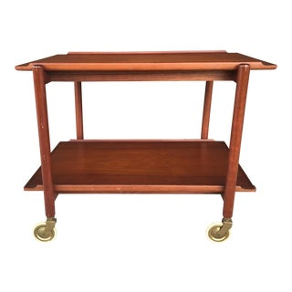 Midcentury Teak Two-Tier Bar Cart
