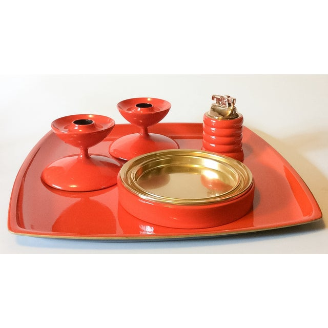 Image of MCM Bright Orange Lacquer Candlesticks - a Pair
