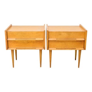 Pair of American Modern Birch Bedside Cabinets, Sir Edmond Spence