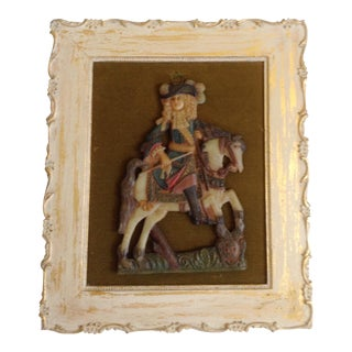 18th Century Antique French Wax Gentleman on Horse Portrait