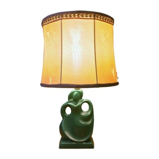 Art Deco Green Female Figural Table Lamp