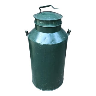 Antique Small Metal Green Milk Can