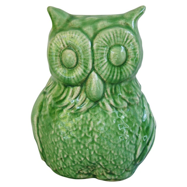 Mid-Century Italian Green Terracotta Owl - Image 1 of 9