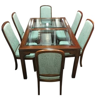 Ethan Allen Dining Table & Mint Green Chairs