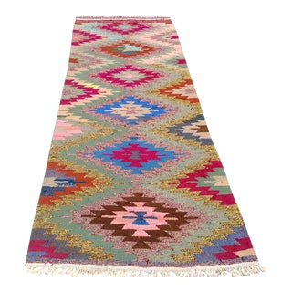 Vintage Turkish Kilim Rug - 3′3″ × 9′1″