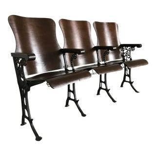 Antique Wood & Cast Iron Theatre Seats