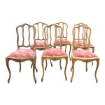 French Style Scroll Splat Gold Wood Dining Chairs - Set of 6