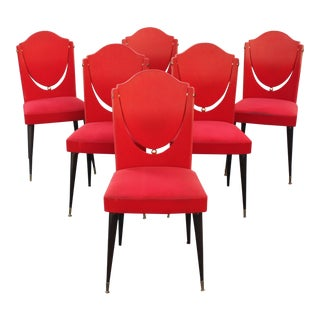 Set Of Six French Art Deco Mahogany Dining Chairs With Ball Detail Circa  1940s Gently Used   Vintage Art Nouveau Decor for Sale at Chairish. Art Nouveau Furniture. Home Design Ideas