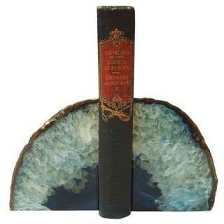 Brazilian Blue Crystal Geode Bookends