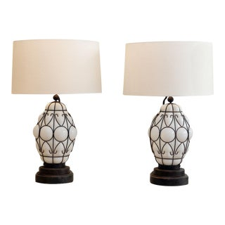 Pair of Vintage Italian Caged-Glass Lanterns as Custom Table Lamps