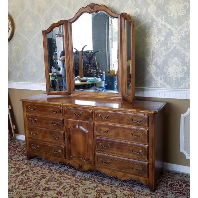 Ethan allen french country bedroom triple dresser tri fold mirror chairish for Ethan allen french country bedroom furniture