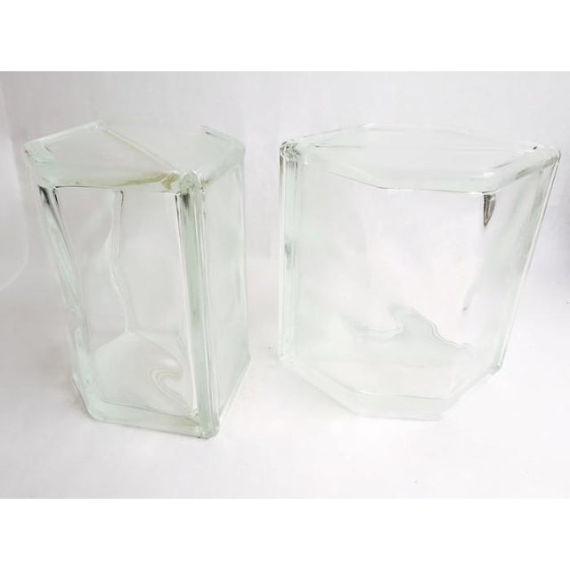 Vintage Glass Block Geometric Bookends - A Pair - Image 6 of 8